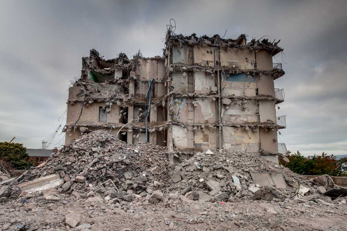 High Rise Demolition : Disappearing glasgow plean st